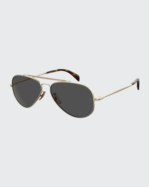 Men's Metal Aviator Brow-Bar Sunglasses