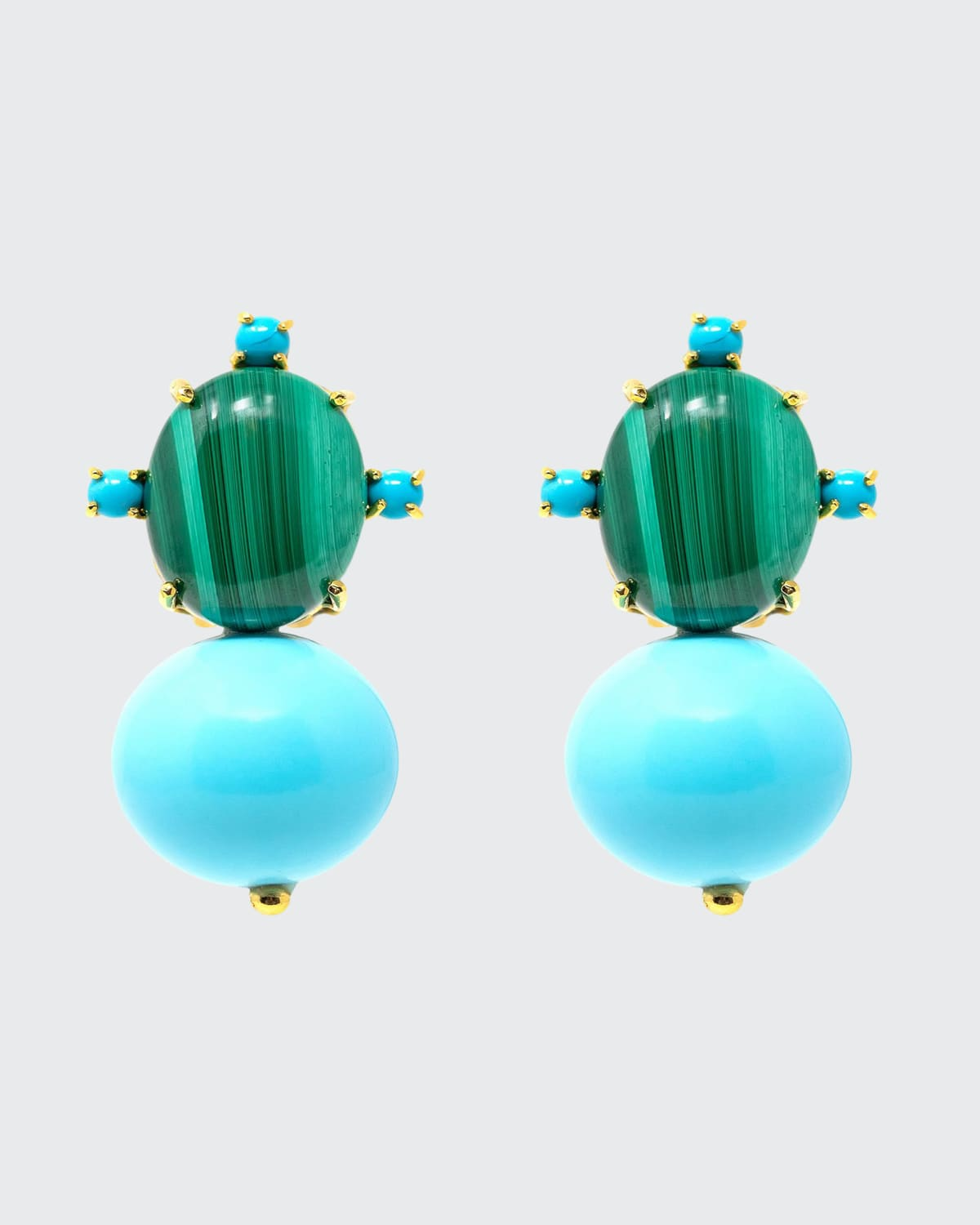 Malachite and Turquoise Earrings