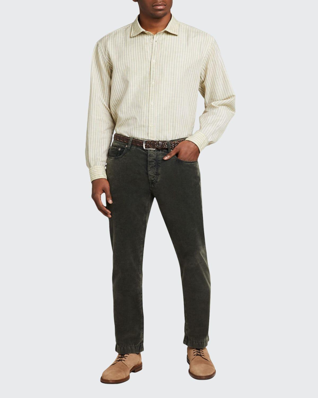 Men's Striped Cotton-Linen Sport Shirt