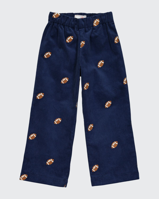 Boy's Myles Embroidered Corduroy Pants