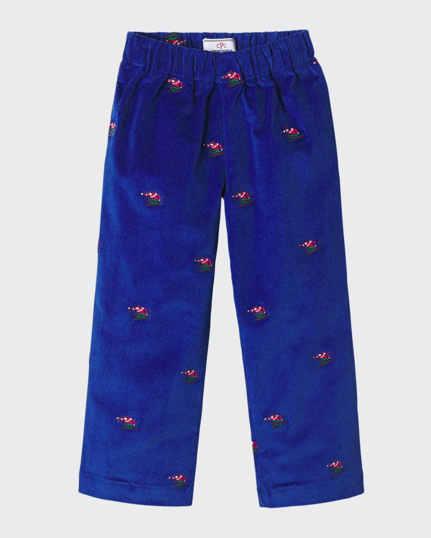 Boy's Myles Embroidered Slim Pants