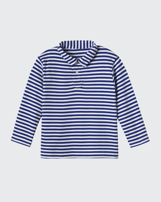 Boy's Henry Striped Long-Sleeve Polo Shirt