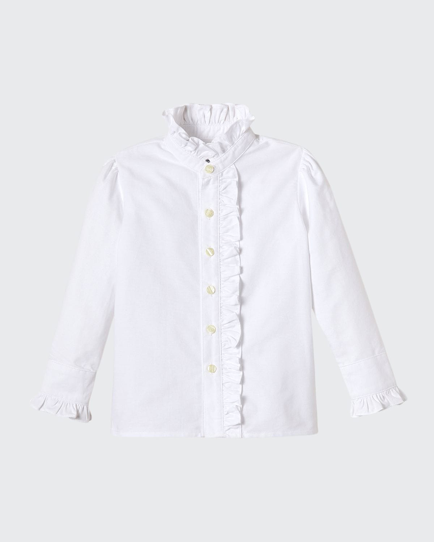 Girl's Ginny Ruffle Button Front Oxford Shirt