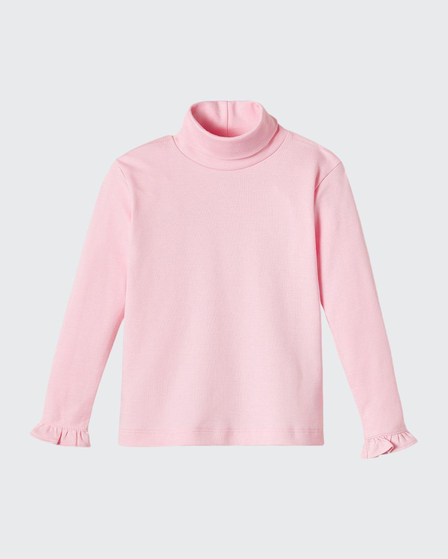 Girl's Eloise Ruffle-Sleeve Turtleneck Top