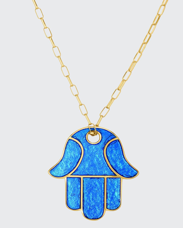 Hamsa Enamel Pendant Necklace