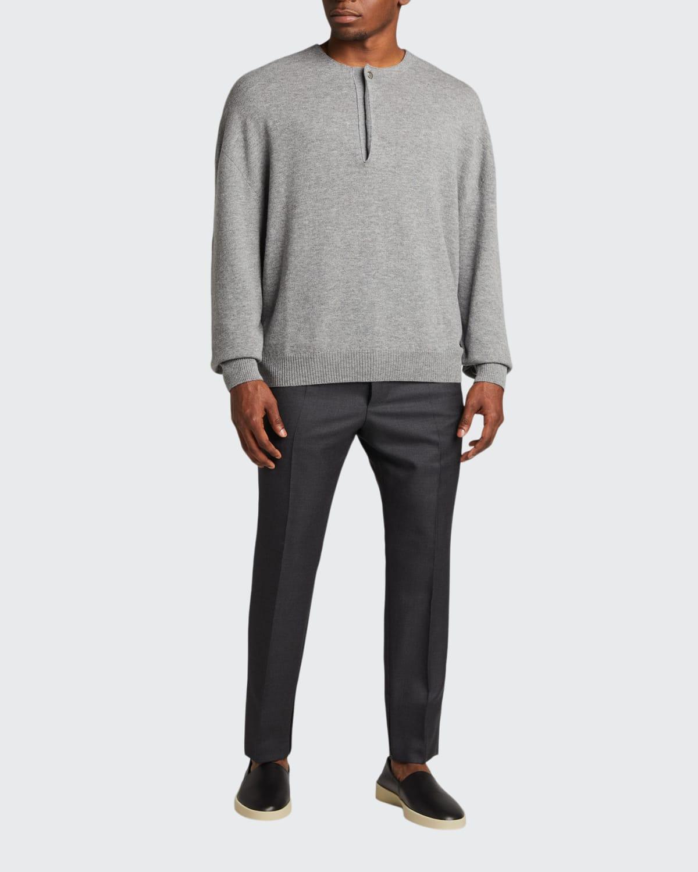 Men's x Zegna Wool Single-Button Henley Sweater