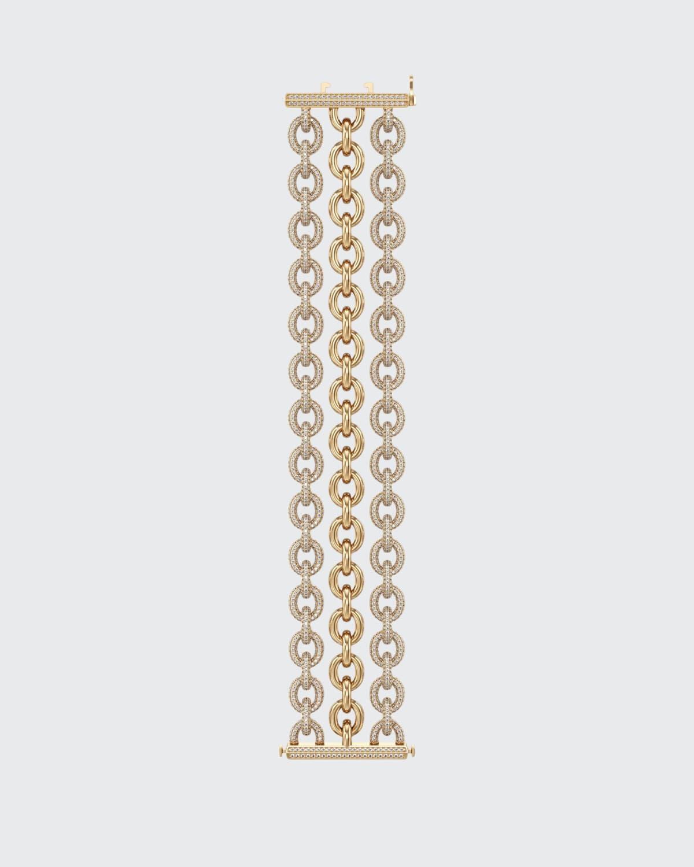 18k Yellow Gold Diamond 3-Row Bracelet