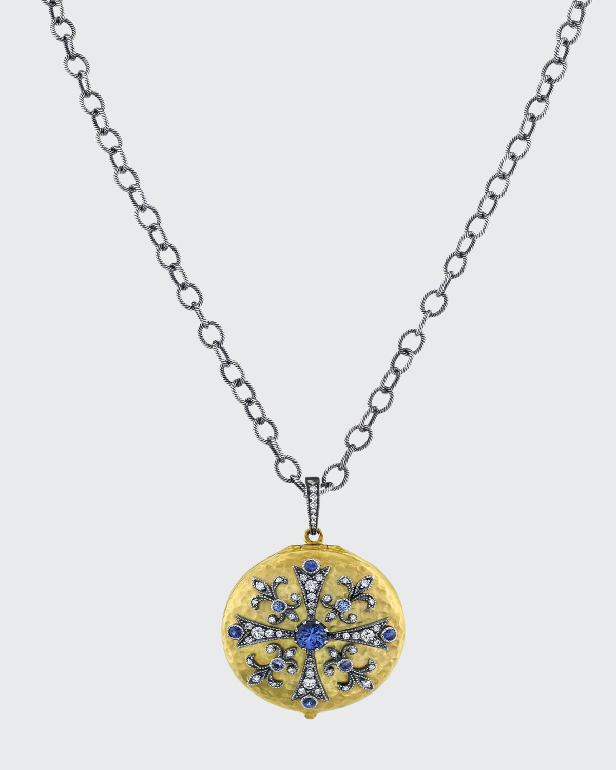 Le Medallion Large Round Locket with Diamond and Sapphire Cross