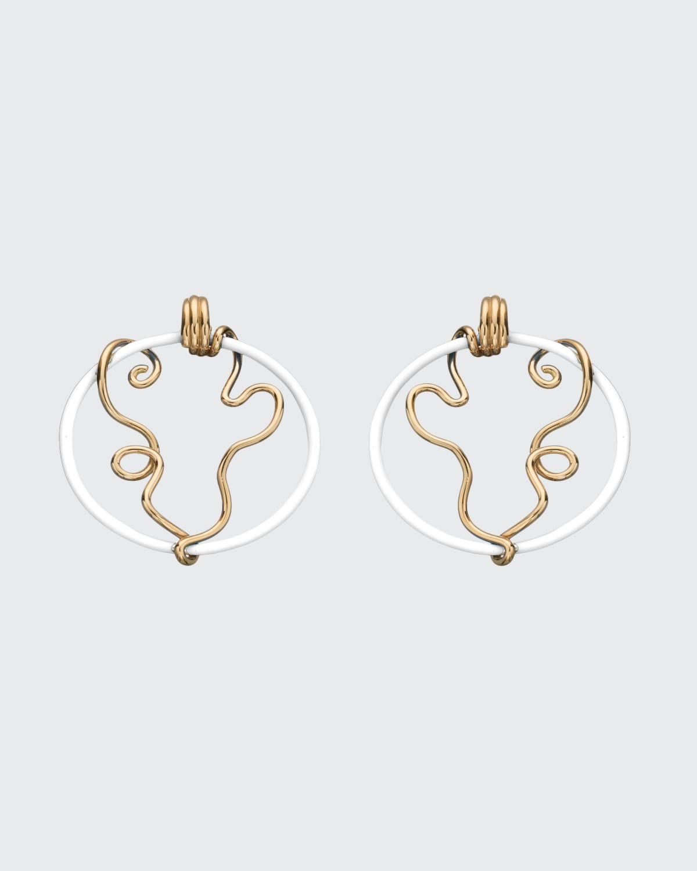 Vine Wrapped Hoop Earrings with White Enamel