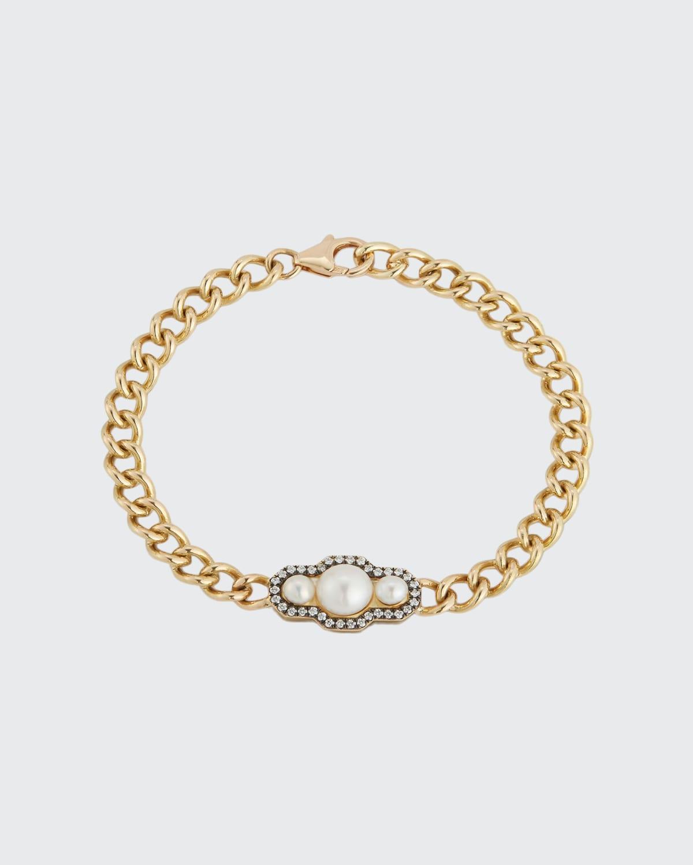 Gold Toujours Bracelet w/ Triple White Pearls And Blackened Pave Diamond Border