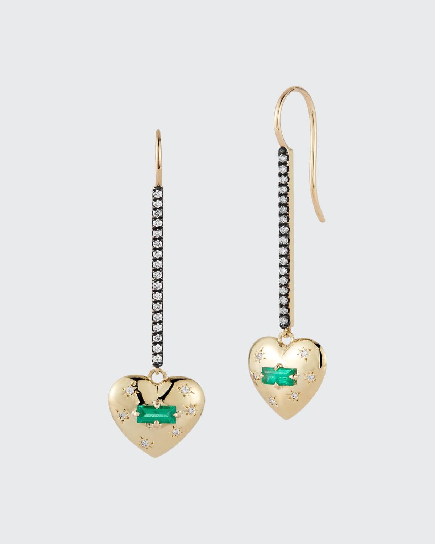 Gold Anniversary Heart Stick Drop Earrings w/ Emerald Baguette Center And Star Set Diamonds. 0.36 ct. Emerald