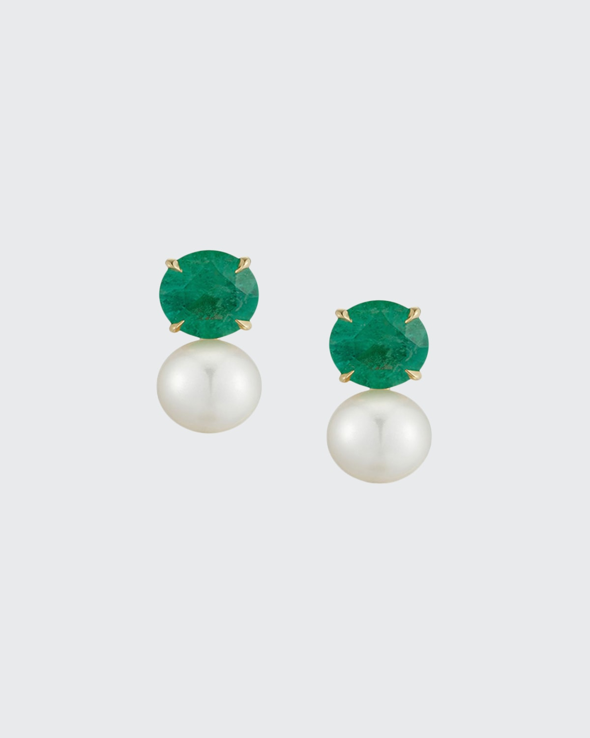 Prive 18k Colombian Emerald and Pearl Earrings