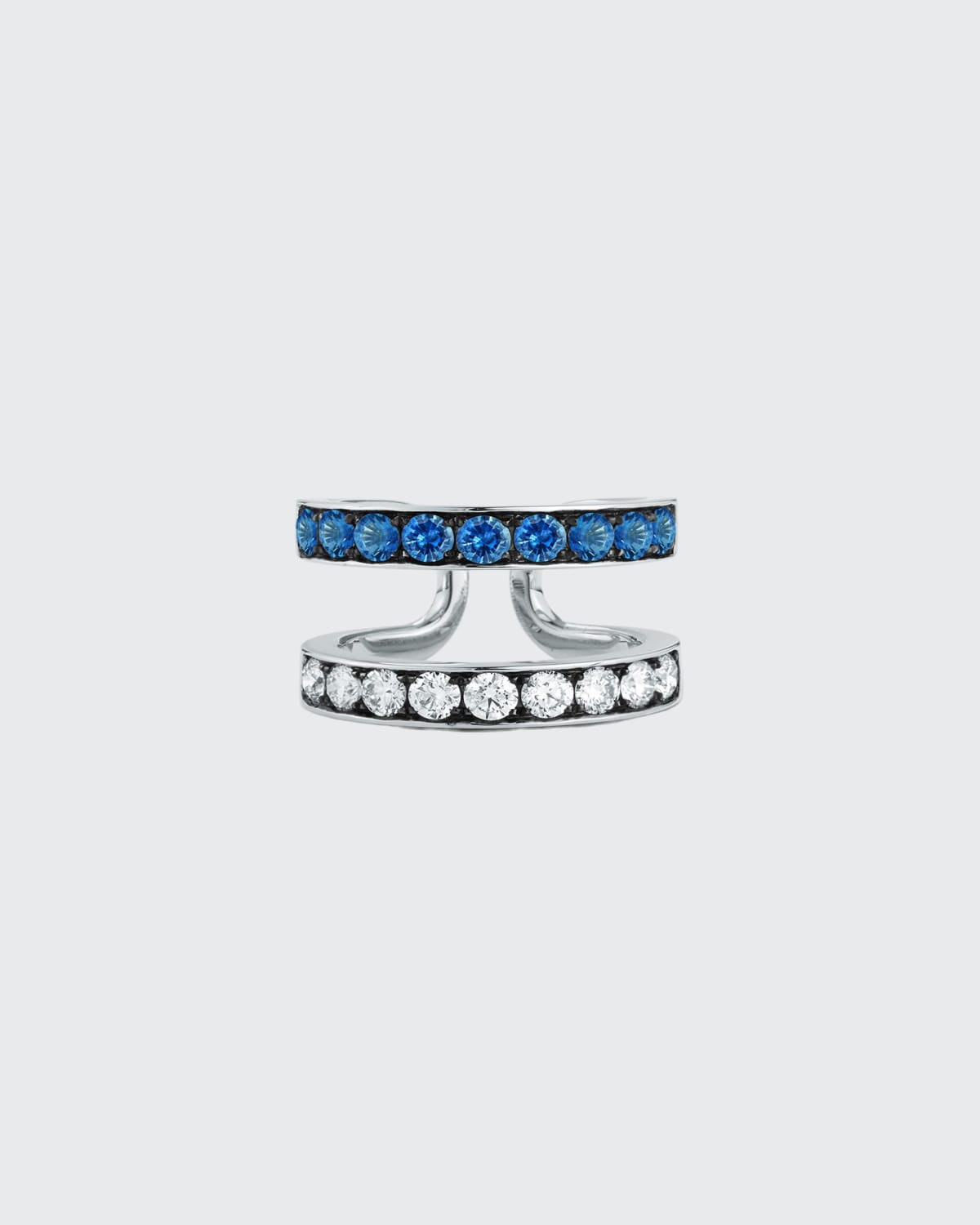 White Gold Prive Double Band Ring w/ Blackened Diamond And Blues Sapphires