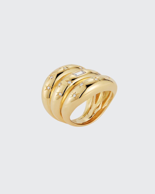 Gold Anniversary Triple Band Ring w/ Diamond Baguette And Star Set Diamond