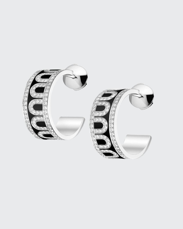 18k White Gold Ceramic and Diamond L'Arc Hoop Earrings