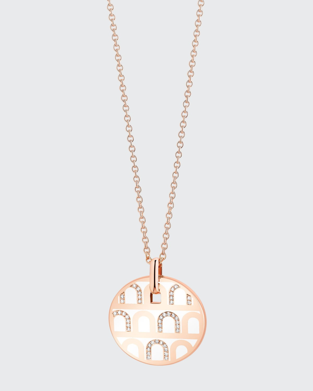 18k Rose Gold Ceramic and Diamond L'Arc Necklace