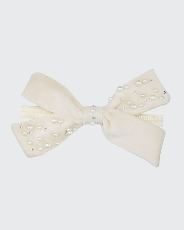 Baby's Corduroy Bow-Embellished Crystal Elastic Headband