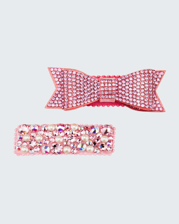 Girl's 2-Piece Crystal Embellished Hair Clip Set