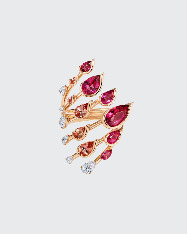 Flare Ring in 18K Rose Gold White Diamonds