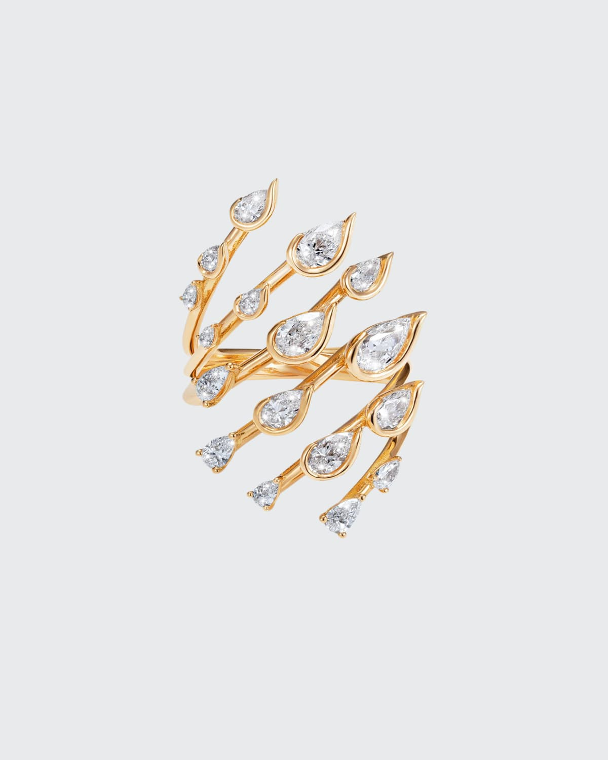 Flare Small Ring in 18K Yellow Gold and Diamonds
