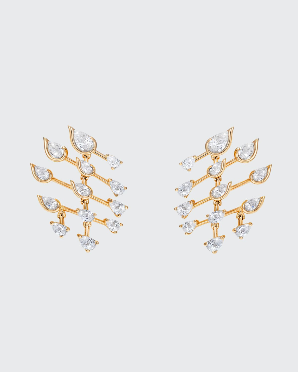 Flare Small Earrings in 18K Yellow Gold and Diamonds