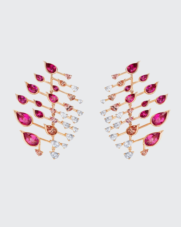 Flare Earrings in 18K Rose Gold White Diamonds