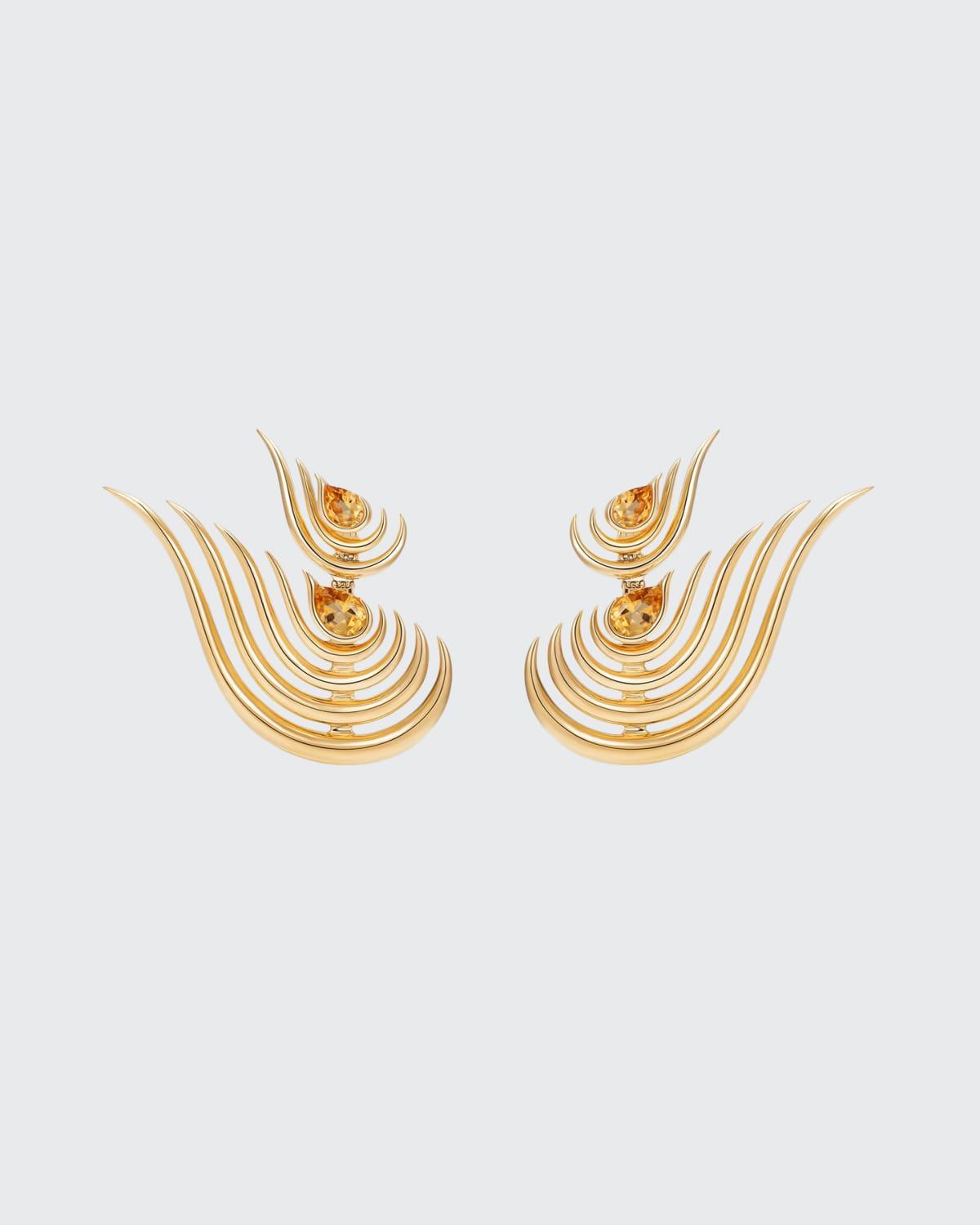 Beacon Double Drop Earrings in 18k Yellow Gold and Citrine