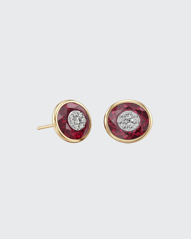 18k Stone and Brilliant Diamond Stud Earrings
