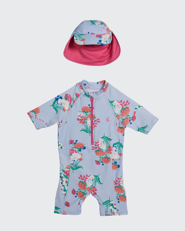 Girl's Sun Floral One-Piece Rash Guard w/ Hat