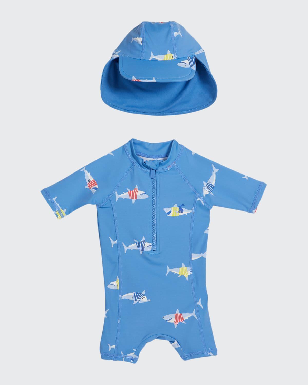 Boy's Sun Shark One-Piece Rash Guard w/ Hat