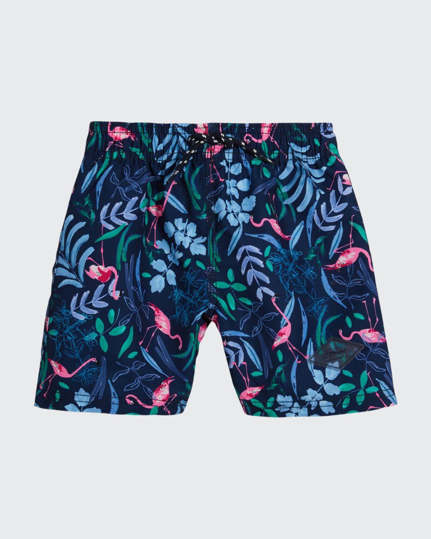 Boy's Flamingo-Print Swim Trunks
