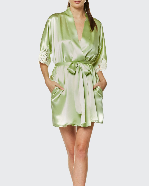 Petite Fleur Silk Charmeuse Short Robe