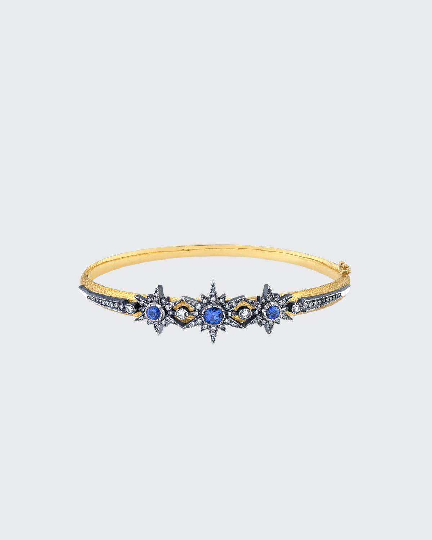 Sapphire and Diamond Starburst Bangle
