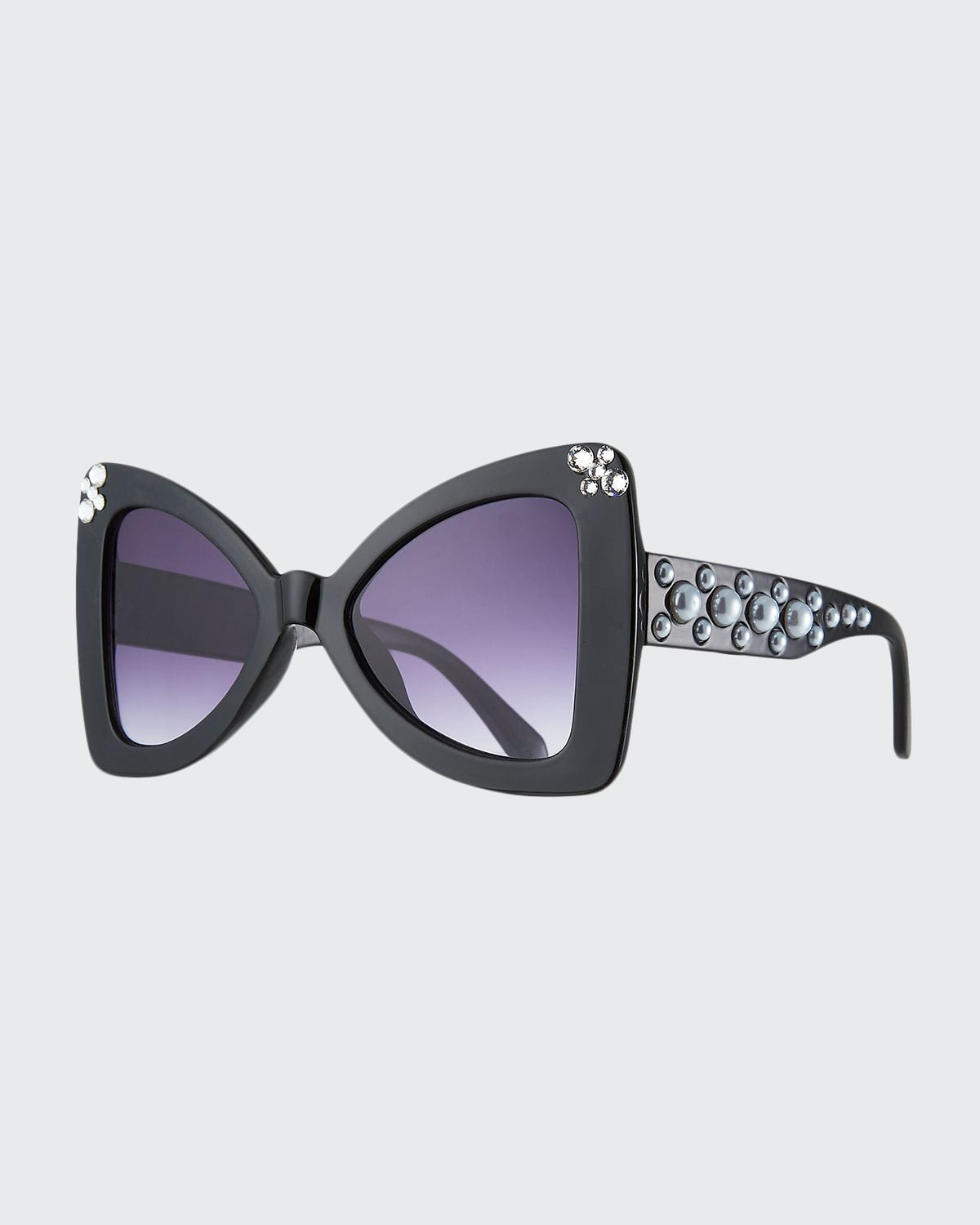 Girl's Crystal Embellished Pearly Cat-Eye Sunglasses