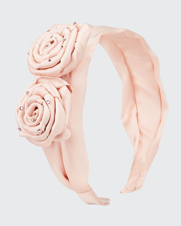 Girl's 2 Rose Satin Headband
