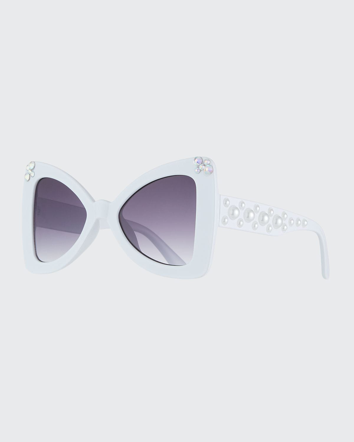 Girl's Embellished Crystal & Pearly Cat-Eye Sunglasses