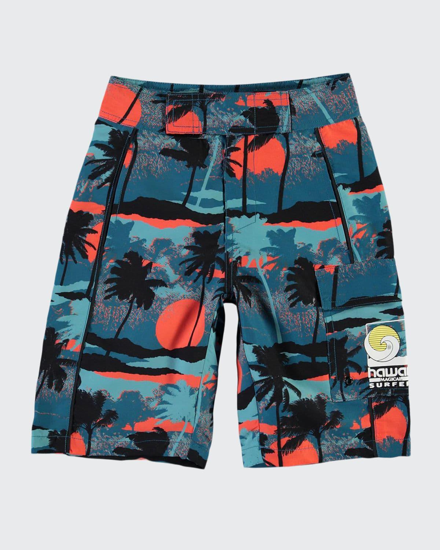 Boy's Natan Palm Tree Swim Trunks