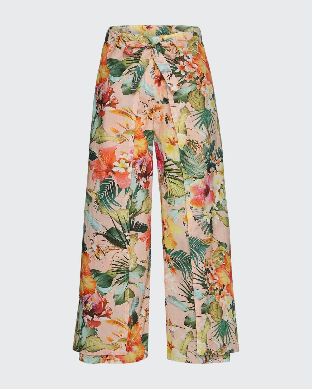 Girl's Aretha Floral-Print Wrap Pants