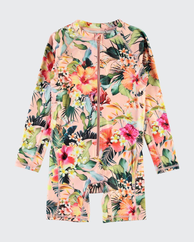Girl's Neka Floral Long-Sleeve Swim Romper