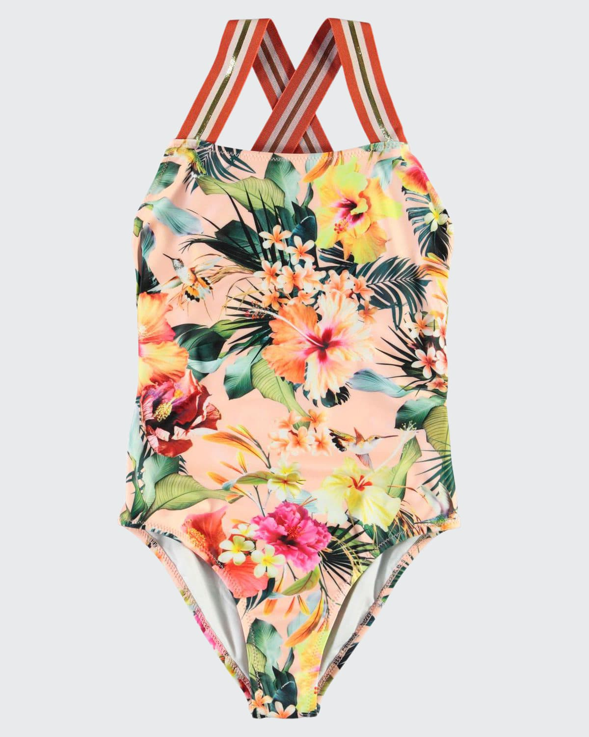 Girl's Neve Floral-Print One-Piece Swimsuit