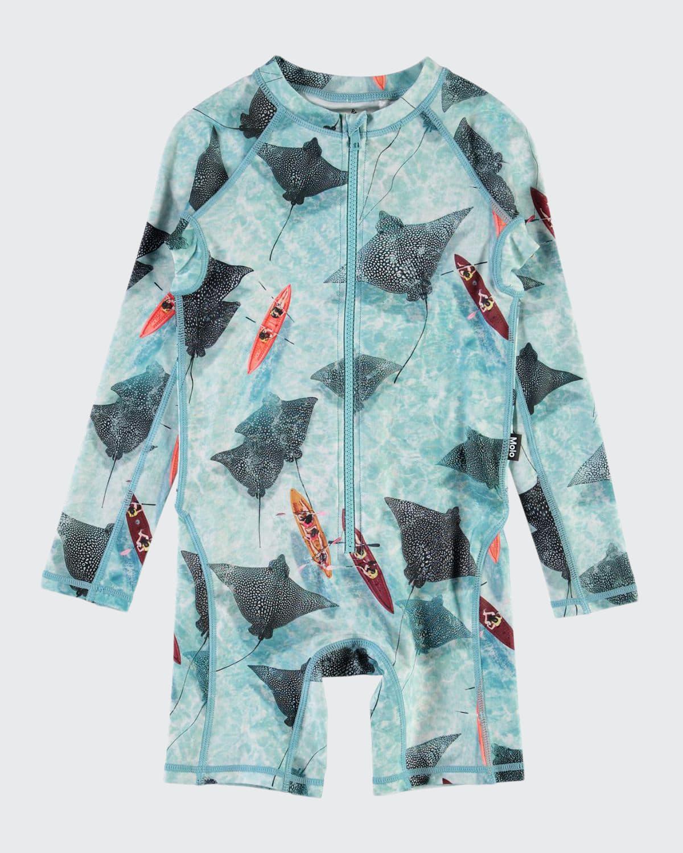 Boy's Neka Stingray Long-Sleeve Swimsuit