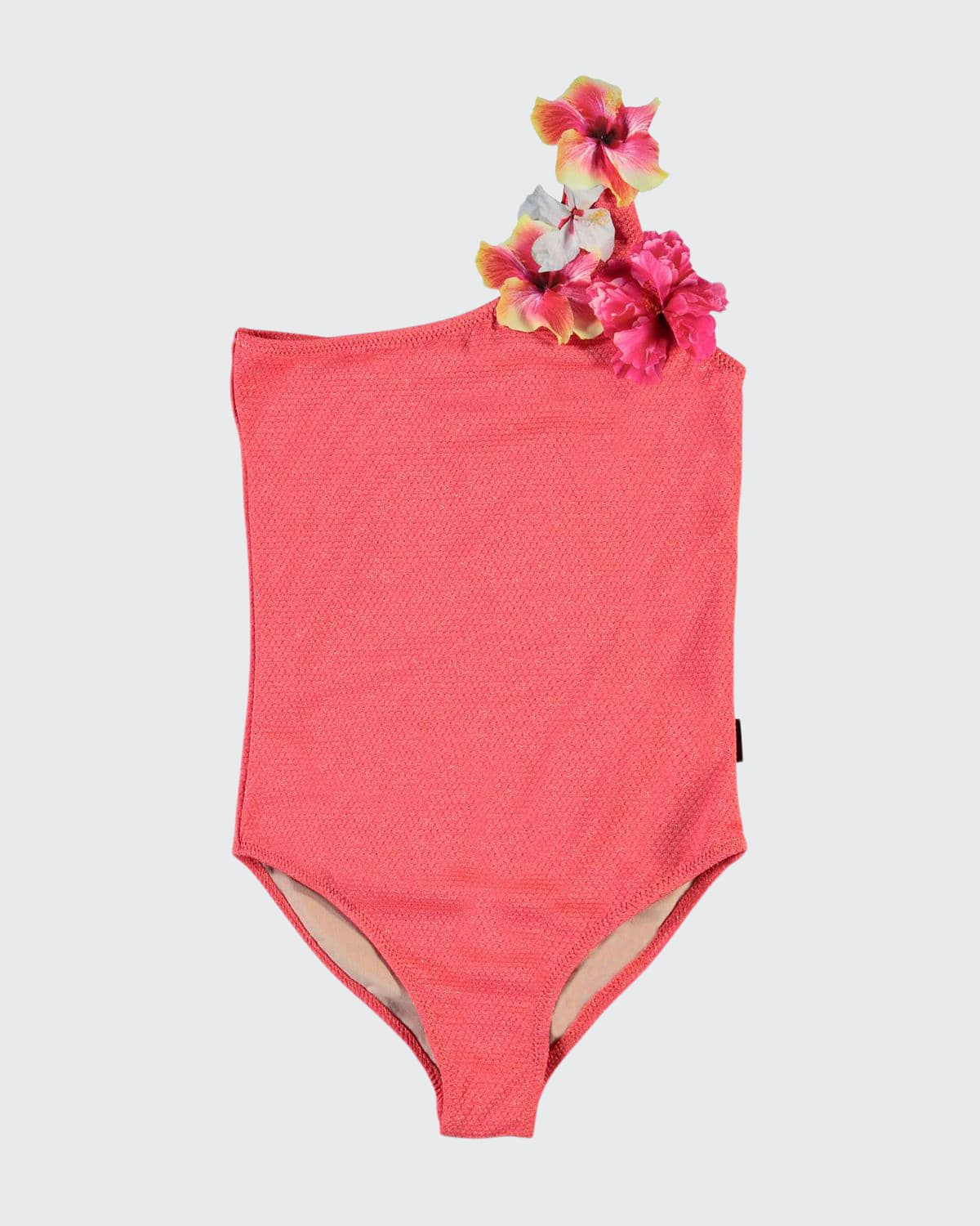 Girl's Nai Flower Applique One-Piece Swimsuit