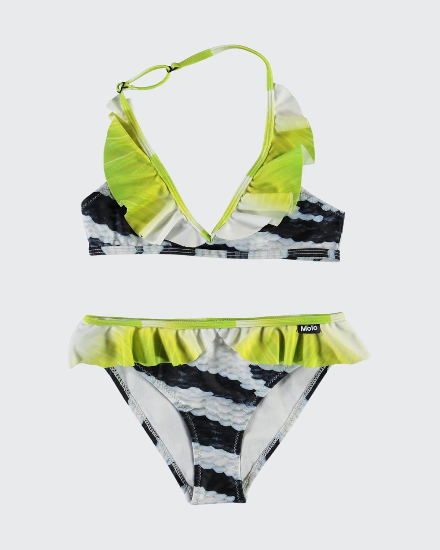 Girl's Nele Zebra Fish Ruffle Bikini Set