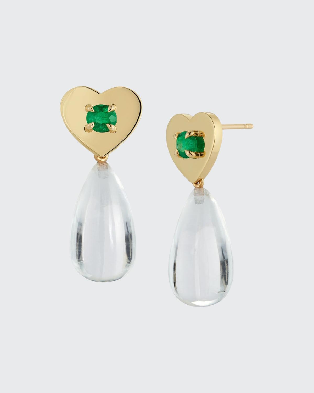 Prive Emerald Heart Rock Crystal Earrings
