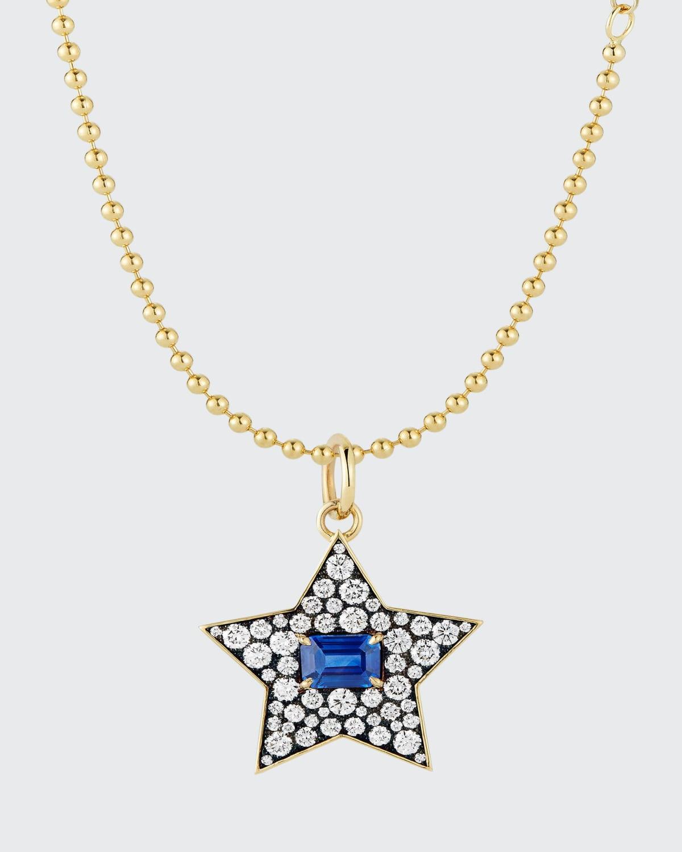 Connexion Diamond and Blue Sapphire Star Pendant Necklace