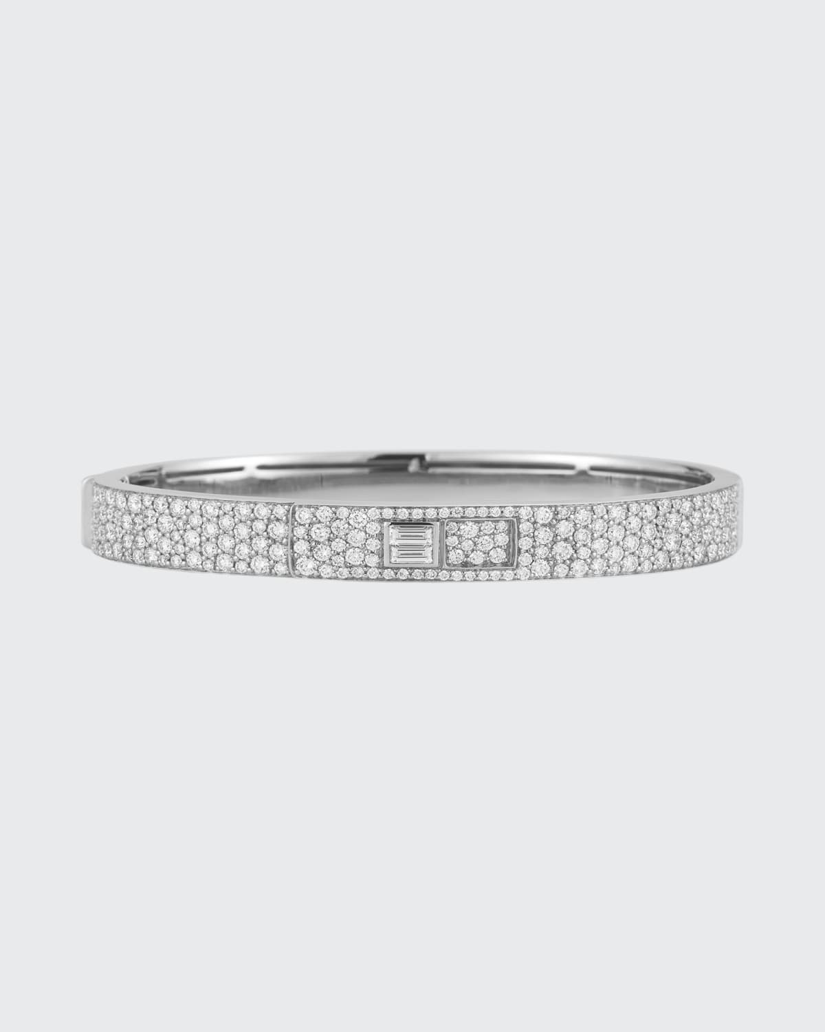 Prive Luxe 18k White Gold Diamond Pave and Baguette Cuff