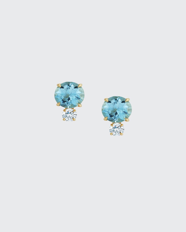 Prive 18K Aquamarine and Diamond Stud Earrings
