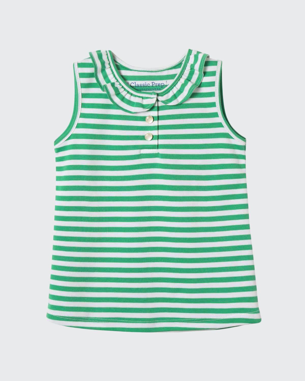 Girl's Zoe Sleeveless Ruffle Striped Shirt