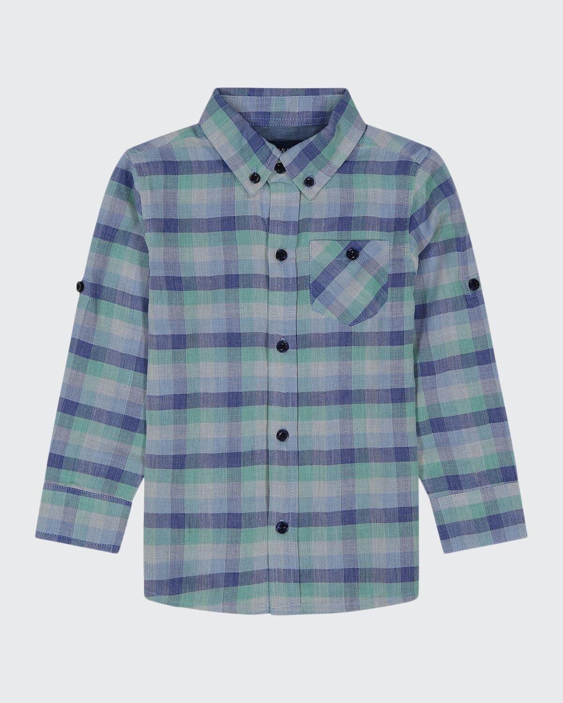 Boy's Plaid Button-Down Cotton Shirt