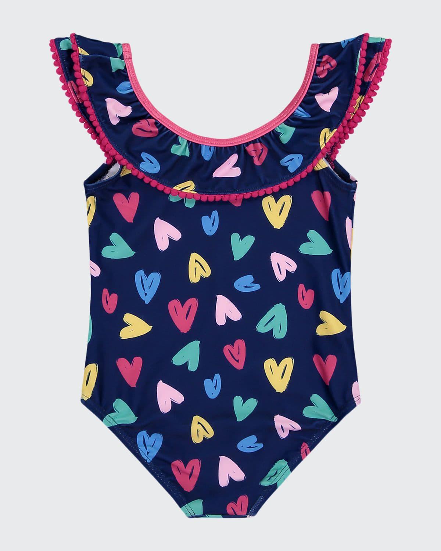 Girl's Heart-Print Pompom One-Piece Swimsuit